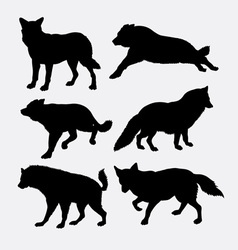Wolf and fox silhouette vector image vector image