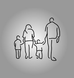 back of four people family holding hand vector image vector image