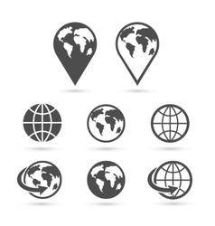 Globe earth icons set isolated on white vector image vector image