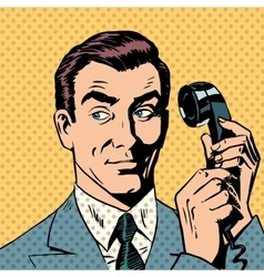 Male businessman talking on the phone style pop vector image vector image