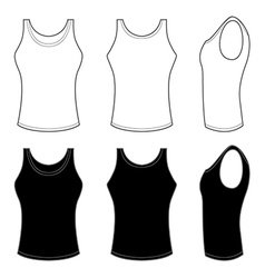 Mans Top Tank in Black and White vector image vector image