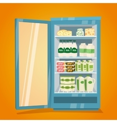 Refrigerator full of dairy products vector