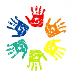 set of colorful hand vector image vector image