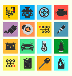 set of service car flat icon on white background vector image vector image