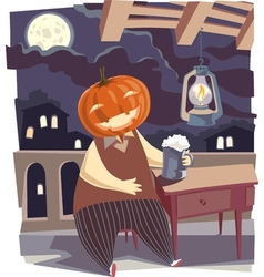 Jack O Lantern with a Pint of Beer vector image