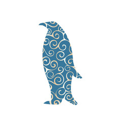 penguin bird color silhouette animal vector image vector image