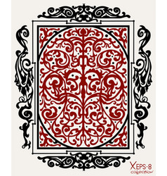 red and black ancient vintage ornament on white vector image