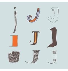 Set of colorful alphabet letters j vector