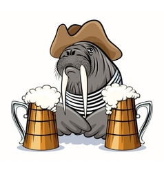 Walrus and Beer vector image vector image
