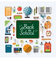 Welcome back to school flat concept background vector image vector image