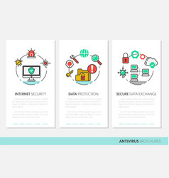 internet security brochure linear thin icons vector image