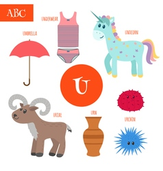 Letter U Cartoon alphabet for children Unicorn vector image vector image