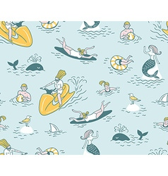 People Actively Relax Swim in the Sea Summer Sea vector image