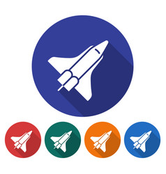 round icon of space shuttle flat style with long vector image