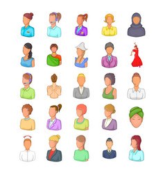woman silhouette icon set cartoon style vector image