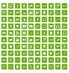 100 audio icons set grunge green vector image