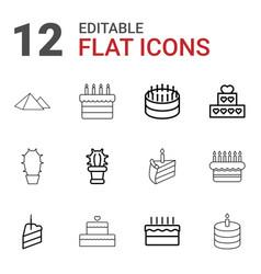 12 desert icons vector image