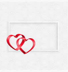 3d ribbon hearts frame with text space vector image