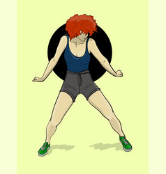 A girl with red hair in gray shorts and a blue t vector