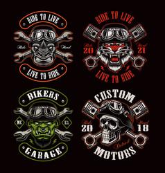 a set biker themed vector image