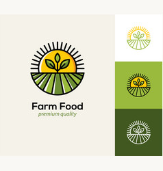 Agriculture logo with farm field plant and sun vector