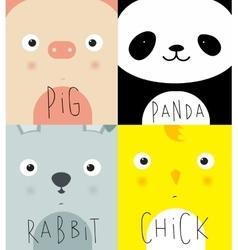 Animal muzzles pig panda rabbit chick vector