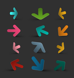 arrows on dark background colorful 3d arrow vector image