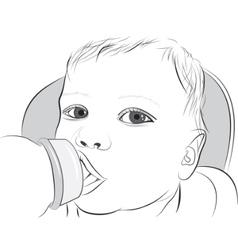 Baby drinking milk vector