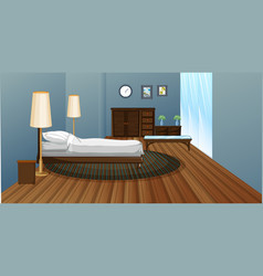 bedroom with wooden floor vector image