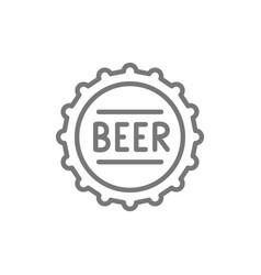 beer bottle cap line icon vector image