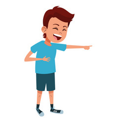 Boy laughing and pointing out vector
