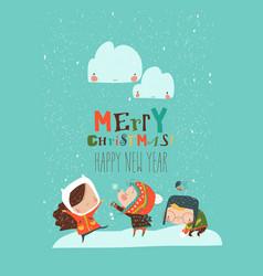 Cartoon happy children enjoying in snow vector
