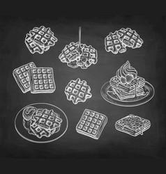 Chalk sketch waffles vector
