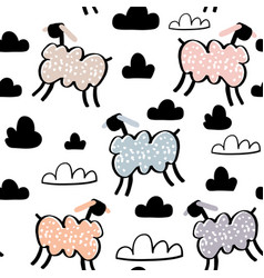 Childish seamless pattern with hand drawn sheeps vector