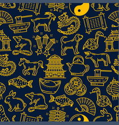chinese new year zodiac signs pattern background vector image