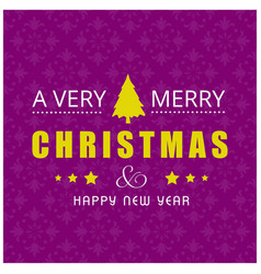 Christmas card with pattern background purple vector