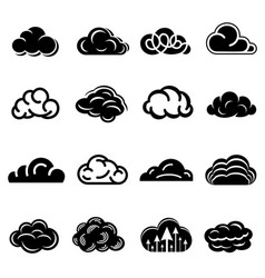 cloud icons set simple style vector image