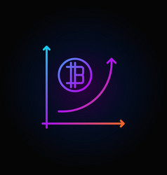 Colorful cryptocurrency growth graph outline vector