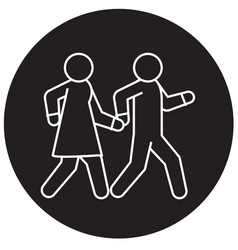 couple walks holding hands together black vector image