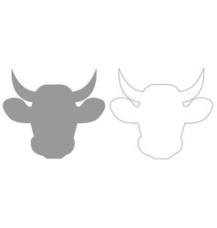 Cow head grey set icon vector