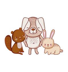 cute animals squirrel rabbit and grass cartoon vector image