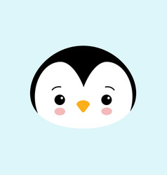 cute baby penguin standing on blue background vector image