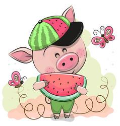 Cute cartoon pig with watermelon vector