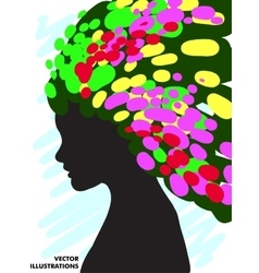 Decorative composition of girl silhouette with vector image