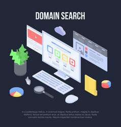 Domain search concept banner isometric style vector