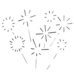 Doodle fireworks burst icon hand drawing vector
