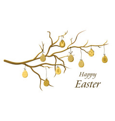 Easter eggs on a branch vector