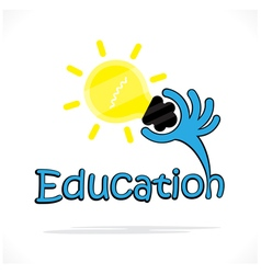 Education title text and hand shape Education sign vector