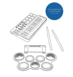 Electronic drum pad kit and mini keyboard sketch vector