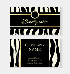 fashion beauty salon template business card zebra vector image